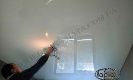 белые натяжные потолки в зале