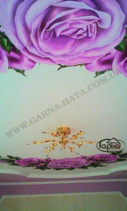 матовые натяжные потолки фото с цветами