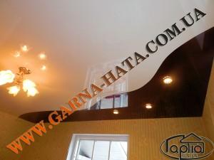 Глянцевые натяжные потолки комбинированные