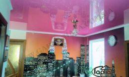 розовые глянцевые натяжные потолки