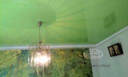глянцева зелена натяжна стеля