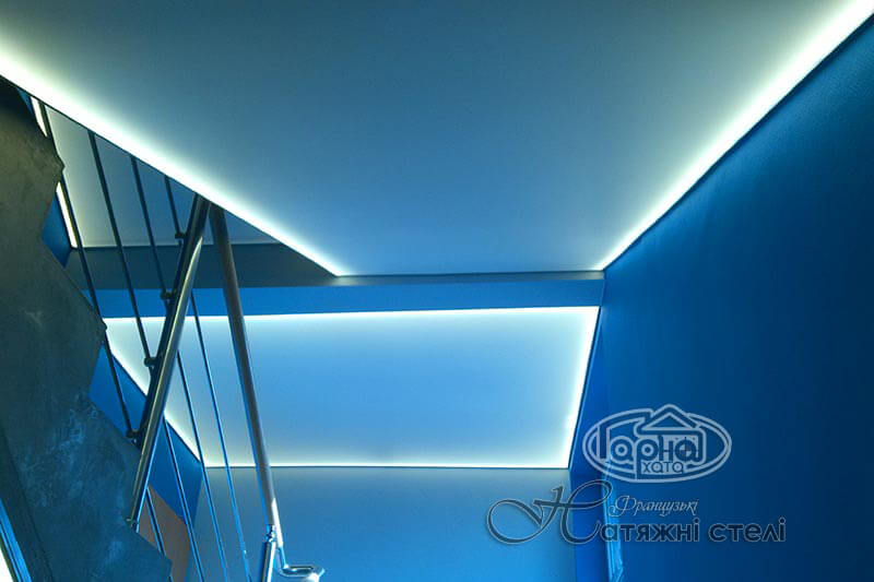 натяжные потолки с подсветкой в коридоре