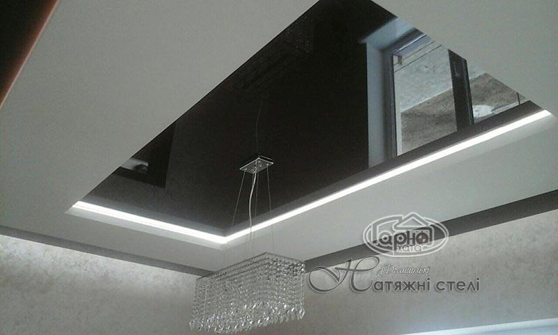 натяжные потолки с подсветкой в спальне
