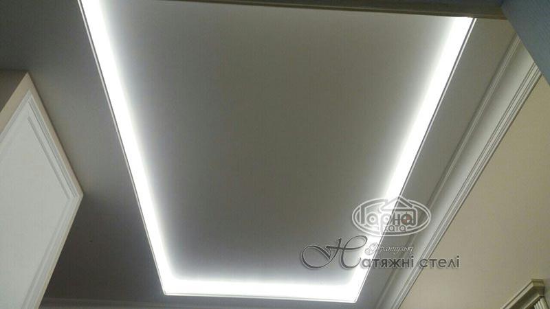 натяжные потолки с подсветкой в гостиной
