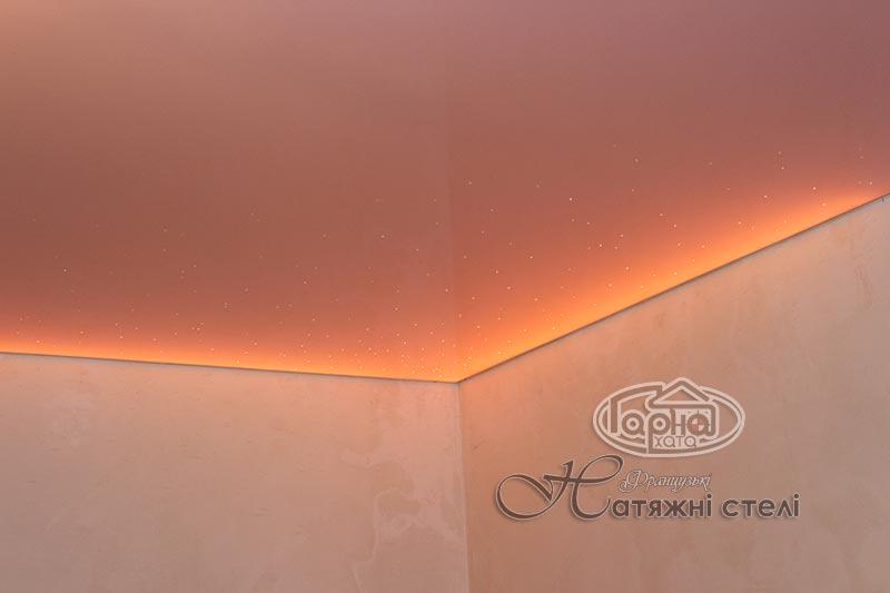 глянец натяжные потолки с подсветкой