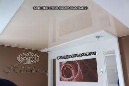 глянцевый натяжной потолок цвет шампань