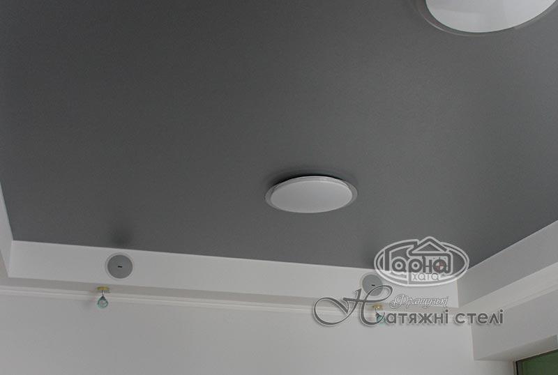 натяжной матовый потолок с декоративной пленкой