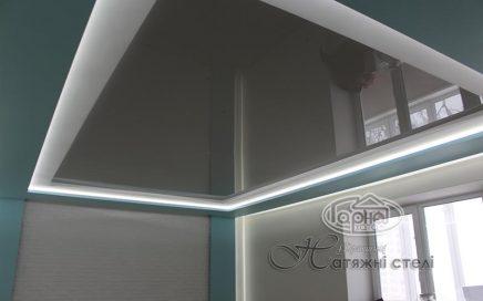 глянцеві натяжні стелі з підсвіткою зал