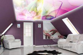 натяжные потолки изменение рисунка при освещении