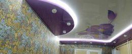 двухуровневый потолок с рисунком подсветка