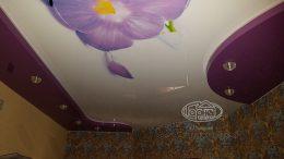 двухуровневые натяжные потолки с рисунком фото