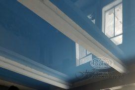натяжной потолок синий, бассейн