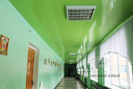 натяжной потолок зеленый, коридор