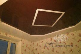 натяжні стелі коричневі з підсвіткою, квадрат