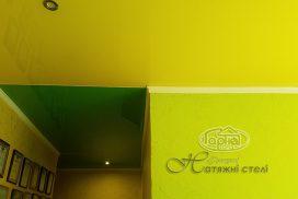 желтый с зеленым натяжной потолок, комбинированный