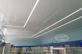 глянцевый натяжной потолок в аптеке, Волиньфарм