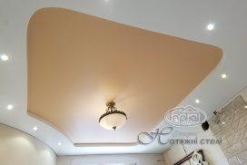 двухуровневый натяжной потолок, глянец луцк
