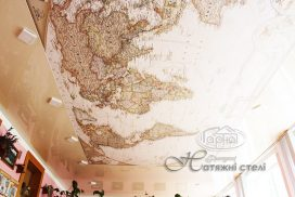 натяжна стеля фотодрук, карта світу